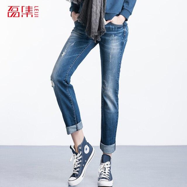 Leiji S-6XL 2016 Мода Плюс Размер Женщин Середины Талии Эластичный Ripped Отверстия Колено Хлопок Джинсовые Промывают Женщина джинсы Femme Прямо брюки