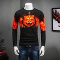 Fire Tiger Head Print O-Neck Pullover Sweater Men  2016 New Fashion Autumn Winter Mens Jumper brand clothing