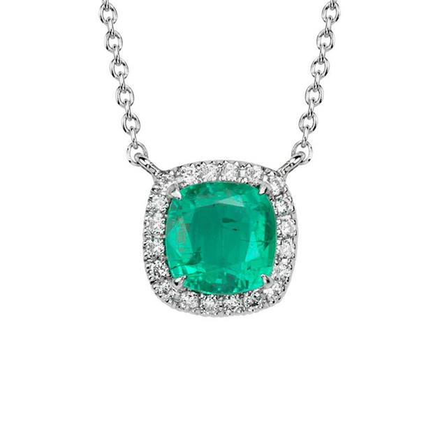 Halo Design Cushion Cut 0.8CT Natural Emerald Pendant Green Gemstone 14k White Gold Diamond Accents Pendant Necklace Chain