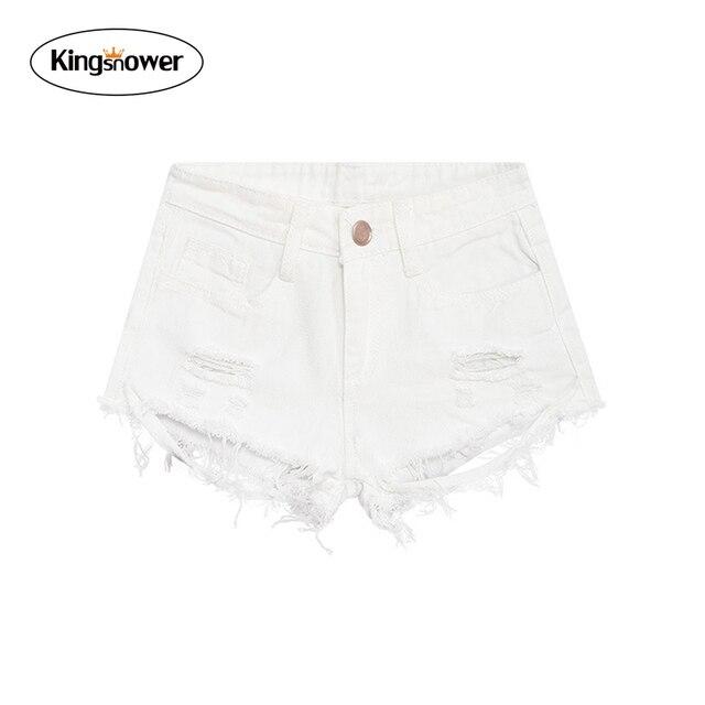 84ca4605a8 2016 de Moda de Verano Pantalones Cortos de Mezclilla Blanco Agujero  Atractivo de la Borla de