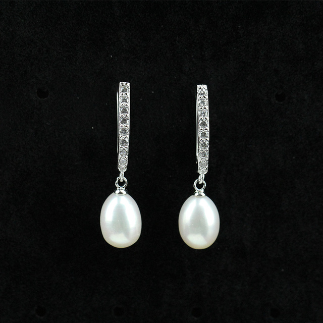 Trendy Crystal And Pearl Earrings For Women 8 9mm Freshwater Dangling Wedding