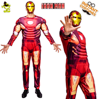 QLQ Halloween Party Iron Costume Role Play Muscle Jumpsuit Clothes Fancy Dress Purim Holiday Muscle Iron Costumes