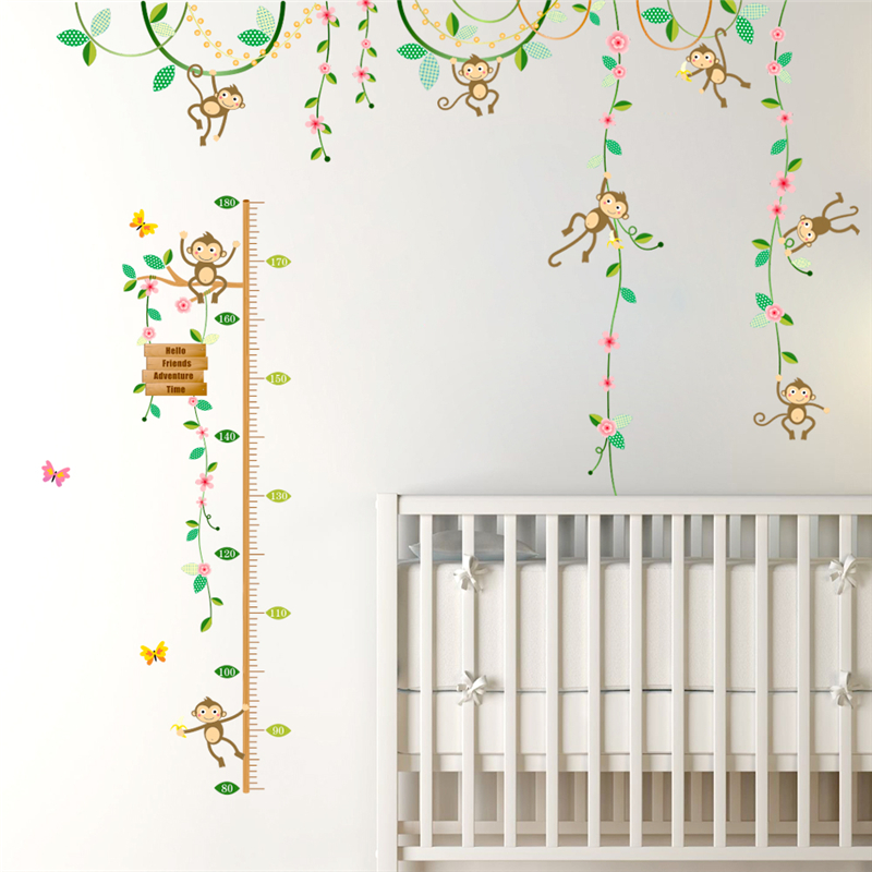 Swing Jungle Monkey Playing Tree Wall Sticker Diy Height Measure Growth Chart  Kids Baby Nursery Bedroom Home Decal Decor 8e1d5dd41f38