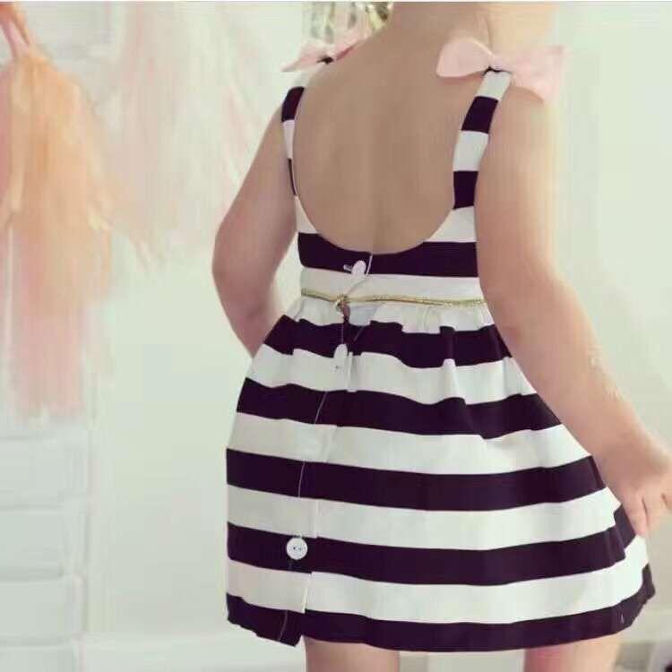 HTB1oCzCPVXXXXX.XpXXq6xXFXXXg - Baby Girls Dress Summer 2017 Stripe Dress Baby Dressing for Party Holiday Black and White with Bow Kids Clothes Girls Cute Brand
