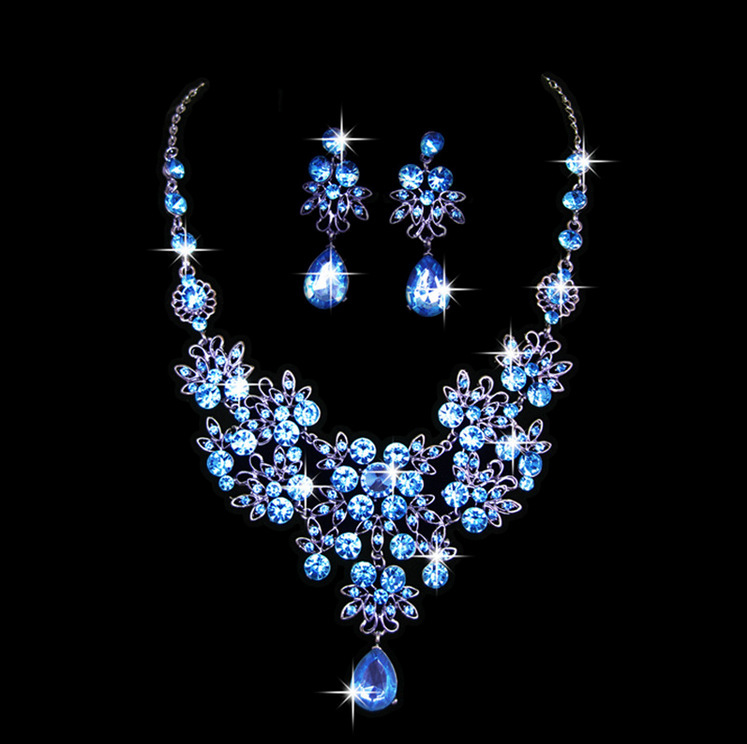Jewelry-Sets Earrings Indian Necklace Crystal Wedding-Party-Costume Rhinestone Brides title=