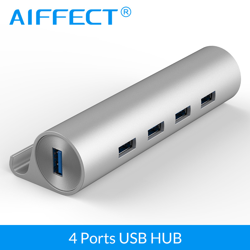 AIFFECT High Speed Aluminum 4 Port USB 3.0 Hub Support OTG Phone Stand with Micro USB Power Port for Iphone Xiaomi HTC LG