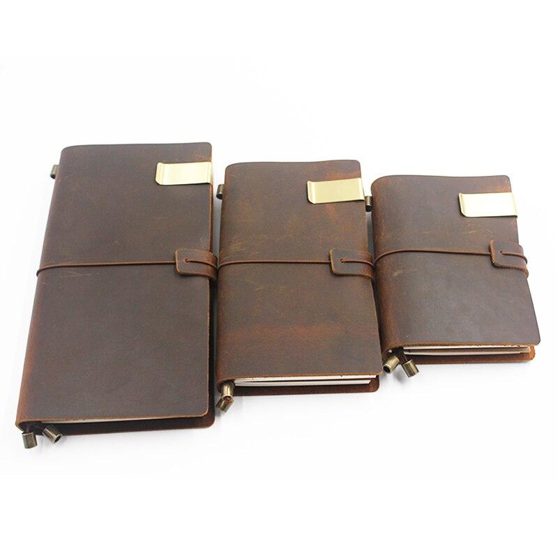 Купить с кэшбэком Dokibook Pen Holder Vintage Retro Metal Leather Pen Clip Stainless Steel For Midori Travelers Notebook Diary Office Accessories