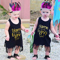 Toddler Kids Baby Girls Summer Dress Cotton Black Sleeveless Stright Brief Tassels Party Mini Dresses Cute 2016