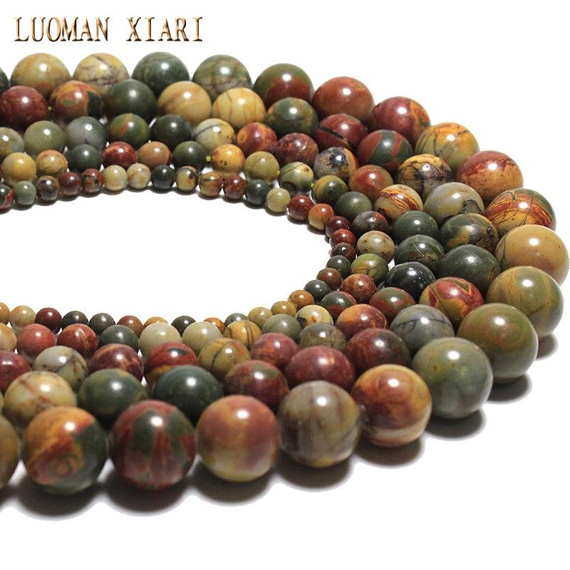 Търговия на едро естествени цветни пикасо кръгла форма естествен камък мъниста за бижута, направени DIY гривна 4/6/8/10/12 мм направление 15 ''  t