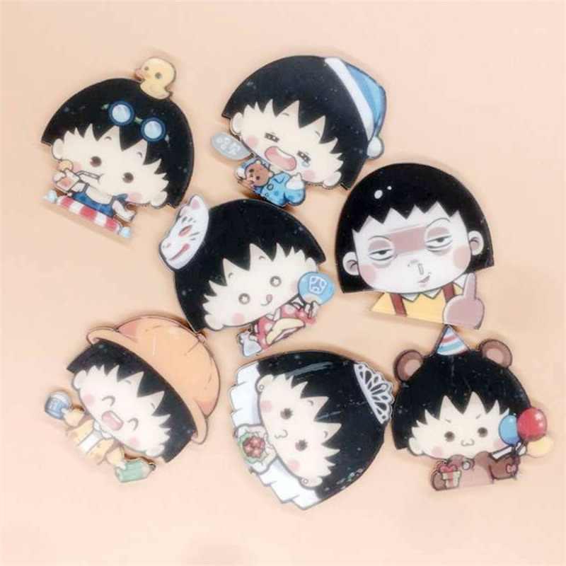 1 PZ Cartoon Acrilico Spille Carino Chibi Maruko-chan Distintivo Spille Anime Zaino Spilla Vestiti Studenti Spille Pins Borsa