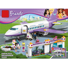 701Pcs Friends Heartlake Airport Big Plane Model Building Mini Block Set Girl Toys Airplane Toys For Children With 41109