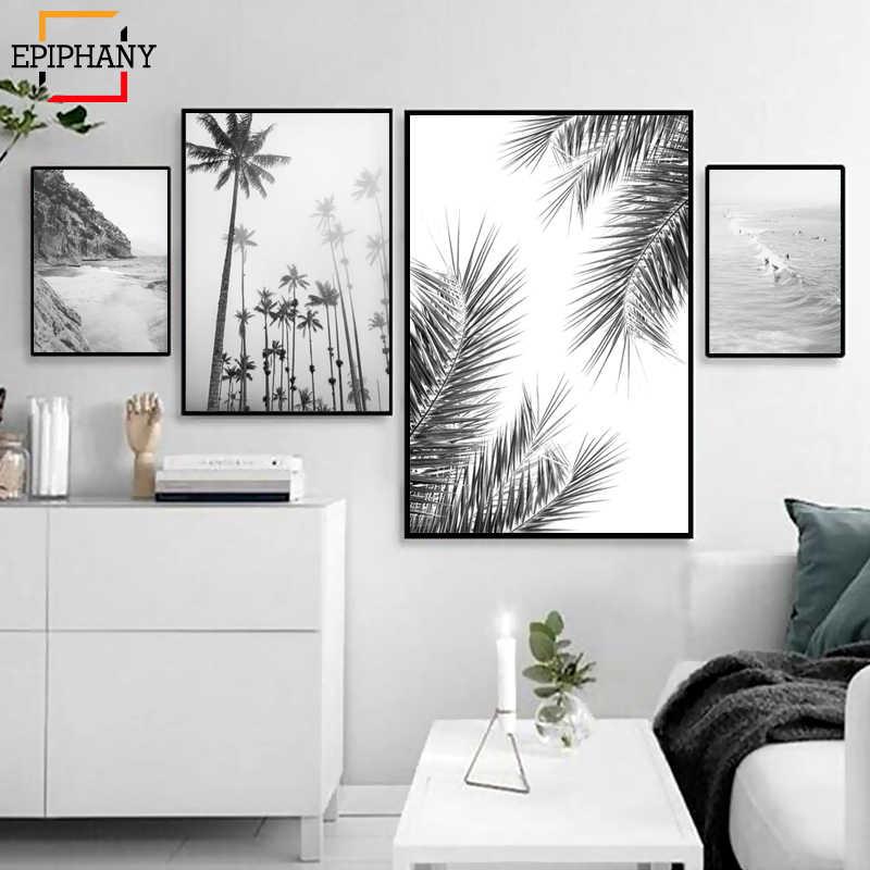 لوحات الرسم بالطلاء صور شاطئ الفن طباعة أوراق النخيل قماش لوحات أبيض وأسود المناظر البحرية ملصق جدار صورة لغرفة المعيشة