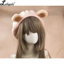 Lovely Lolita Bear Ear Berets Cute Female Wool Berets for Wi