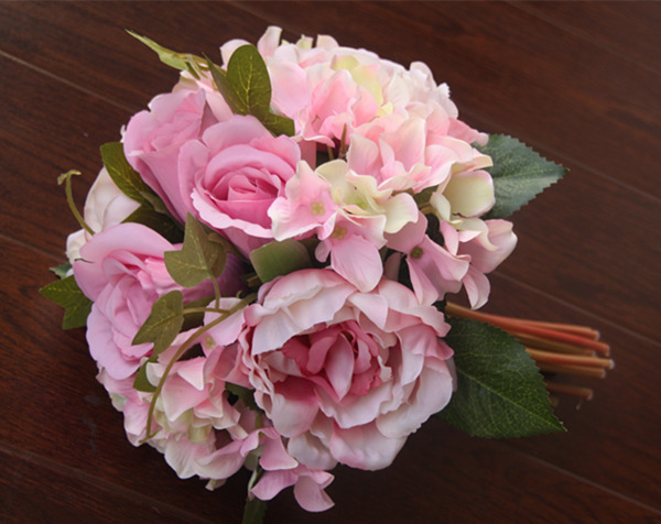 Wholesale high quality peonies bouquet, camellias simulation tea rose bride holding, Wedding Bouquet 5 Peony + 4  Hydrangea