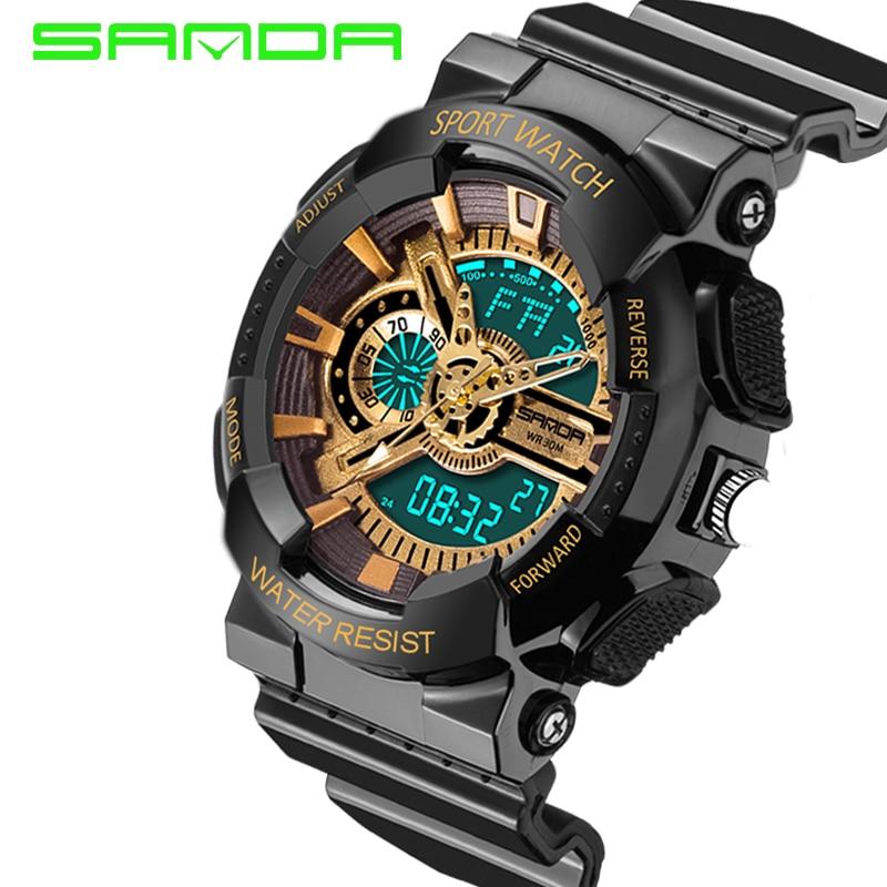 SANDA-montre numérique pour hommes, montre-bracelet à Quartz analogique, montre-bracelet étanche, style militaire, montre LED 2