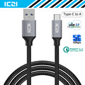 USB C to USB 3.0 Braided Nylon Cable 2M Type C USB 3.0 Charge Sync Data Cable for Macbook Chromebook Pixel HTC 10 and More-ICZI