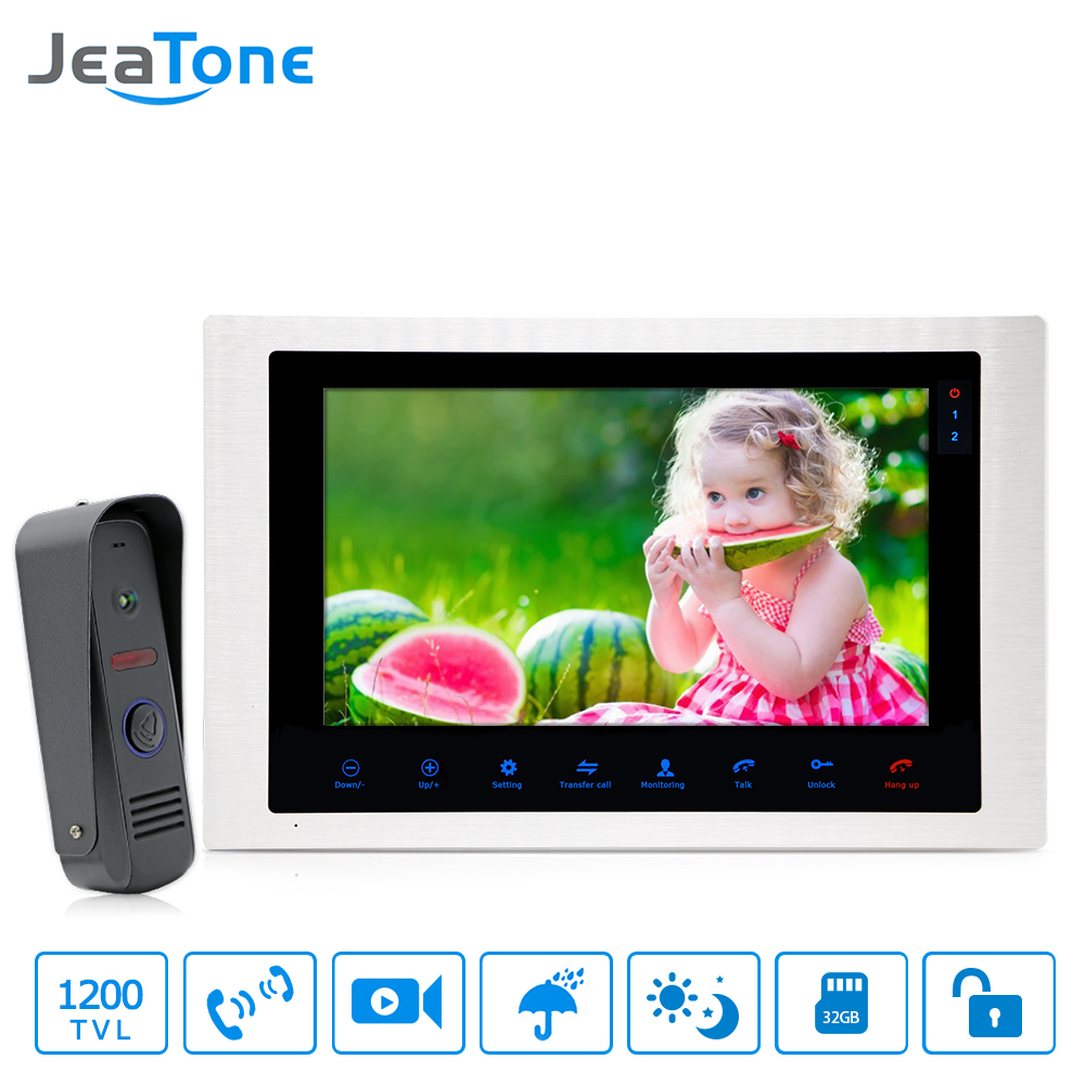 JeaTone 10'' 4 Wired Video Door Phone Video Intercom Access Control Touch Button Motion Detection Apartment Security System Kit jeatone 4 inch 4 wired door phone video intercom doorbell home security camera system waterproof motion detection on door panel
