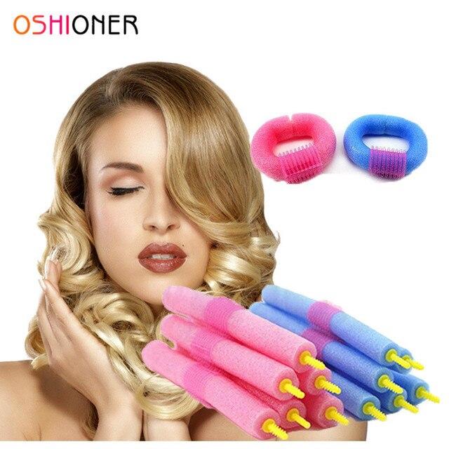 OSHIONER 12 piezas magia calor rizadores de pelo de espuma suave fácil giro rodillos fácil Curling dispositivo