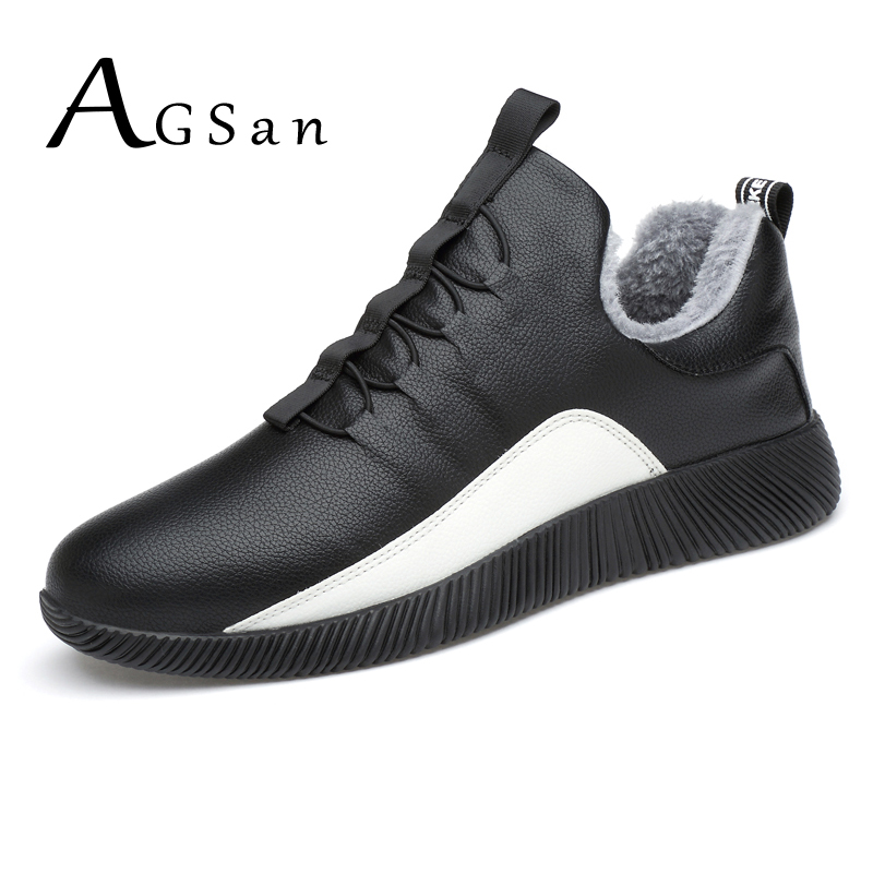 AGSan Men Winter Sneakers with Plush Warm Casual Shoes Waterproof Krasovki Winter Shoes for Men Lace-up Anti-skid Mens Trainers