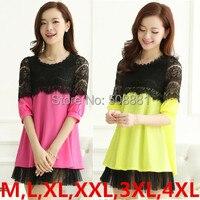 M,L,XL,XXL,3XL,4XL Plus Size Women Dress 2016 New casual lace chiffon dress vintage woman vestidos lady tunic yellow,green,pink