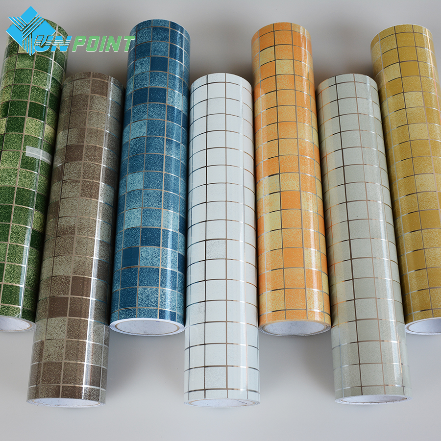 0.45x3M Mosaic Anti Oil Wall Stickers Self Adhesive Kitchen Stove Art Decals Aluminum Foil Wallpaper Bathroom Waterproof Sticker