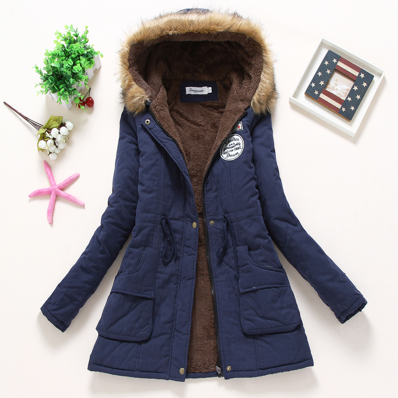 new winter women jacket medium-long thicken plus size 4XL outwear hooded wadded coat slim parka cotton-padded jacket overcoat 2