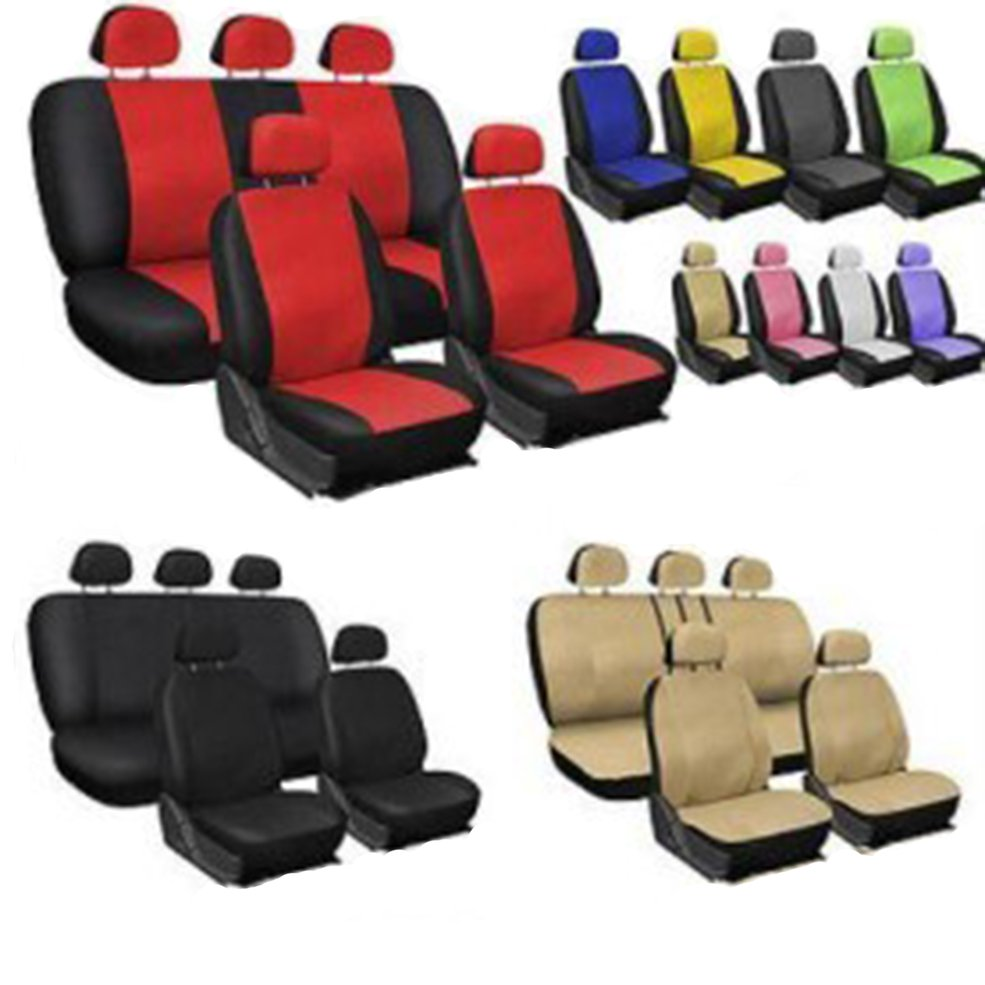 9pcs/set Fashion Leather Solid Color Car Seat Cover Set For All Car Models