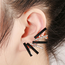 Gothic 1Pc Gold Color Geometric Ear Cuff Earrings Women Crystal Climbing Elegant Piercing Cartilage Black Rhinestone Clip
