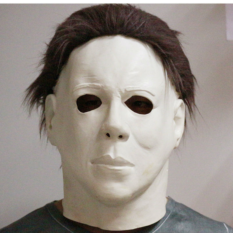 top grade 100 latex horror movie halloween michael myers mask adult party masquerade cosplay latex