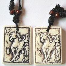 Super Deal Best Selling Fashion New Tibetan Yak Bone Horse Pendants Necklace White Resin Charms 12PCS Wholesale Free Shipping
