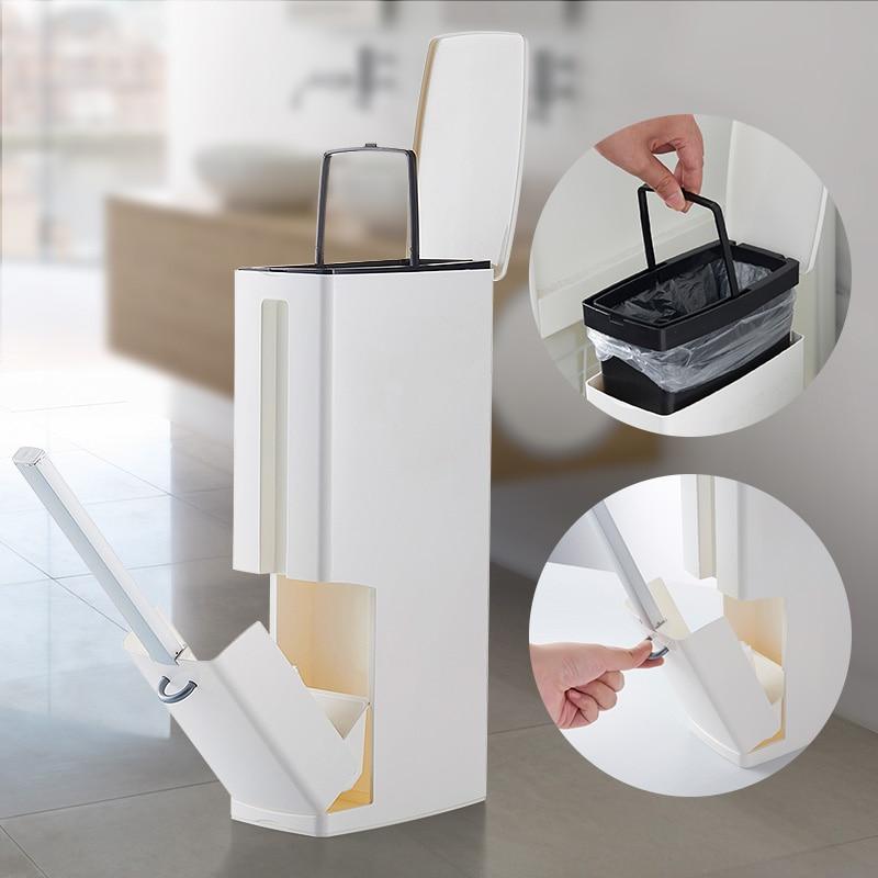 Narrow Bathroom Trash Can Waste Bins Toilet Trash Bin with Lid Toilet Brush Garbage bag storage
