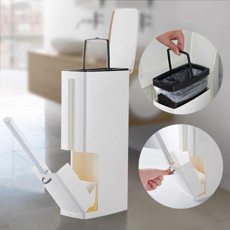 Attirant Narrow Bathroom Trash Can Waste Bins Toilet Trash Bin With Lid Toilet Brush  Garbage Bag Storage
