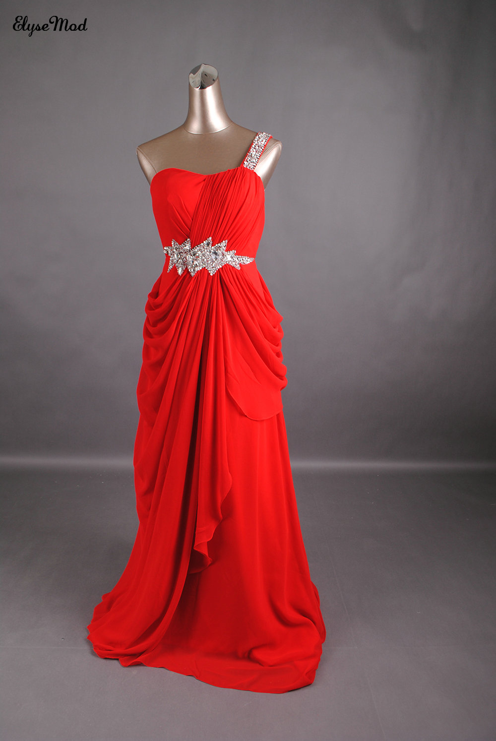 Fancy New Style A-Line One Shoulder   Prom     Dresses   with Beads and Crystals Court Train Chiffon Red   Prom   Party Gowns