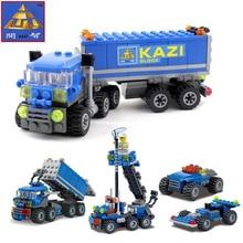 KAZI City Building Blocks Police transport vehicle mobile machinery shop Car Blocks Assembled Toys for Boy kids Compatible LEPIN