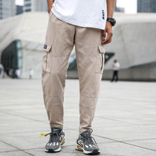 Japanese Style Fashion Mens Jeans Casual Pants Men Punk Hip Hop Trousers Big Pocket Cargo Pants,Army Green Khaki
