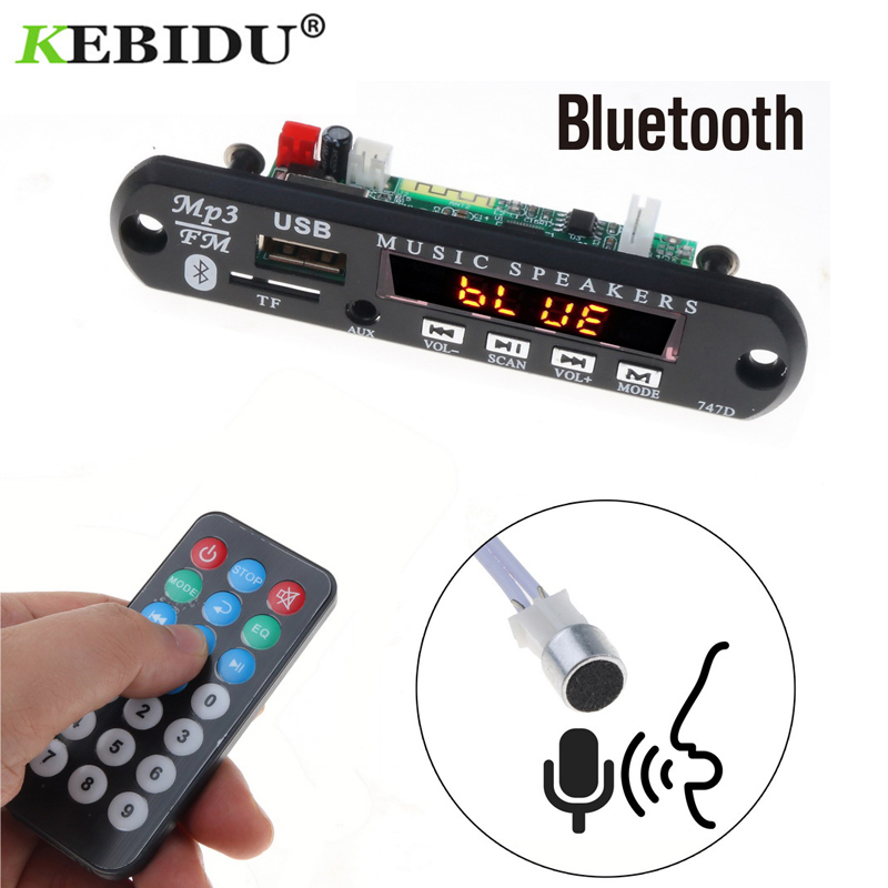 kebidu 5V-12V MP3 Player Bluetooth Handfree Car Kit TF USB 3.5 Mm AUX Audio Decoder Board FM Radio For Car For Iphone Android