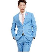 New style men's suits pure color slim lapel men wedding suit two-piece suit mens formal occasion suits(jacket+pants)