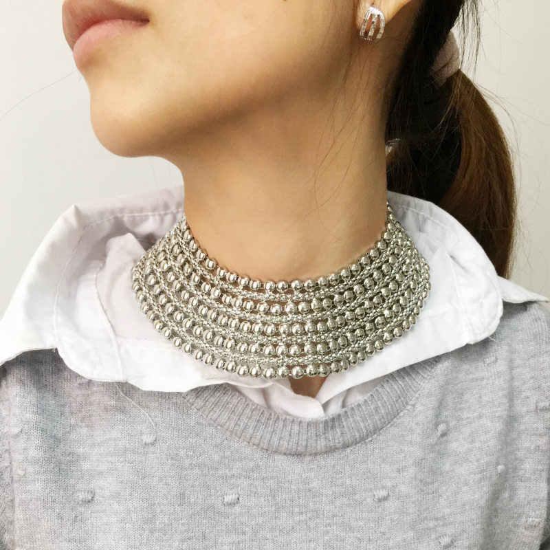Collar de Metal grueso MANILAI para mujeres babero para cuello Collar gargantilla Collar Maxi joyas doradas y joyas plateadas