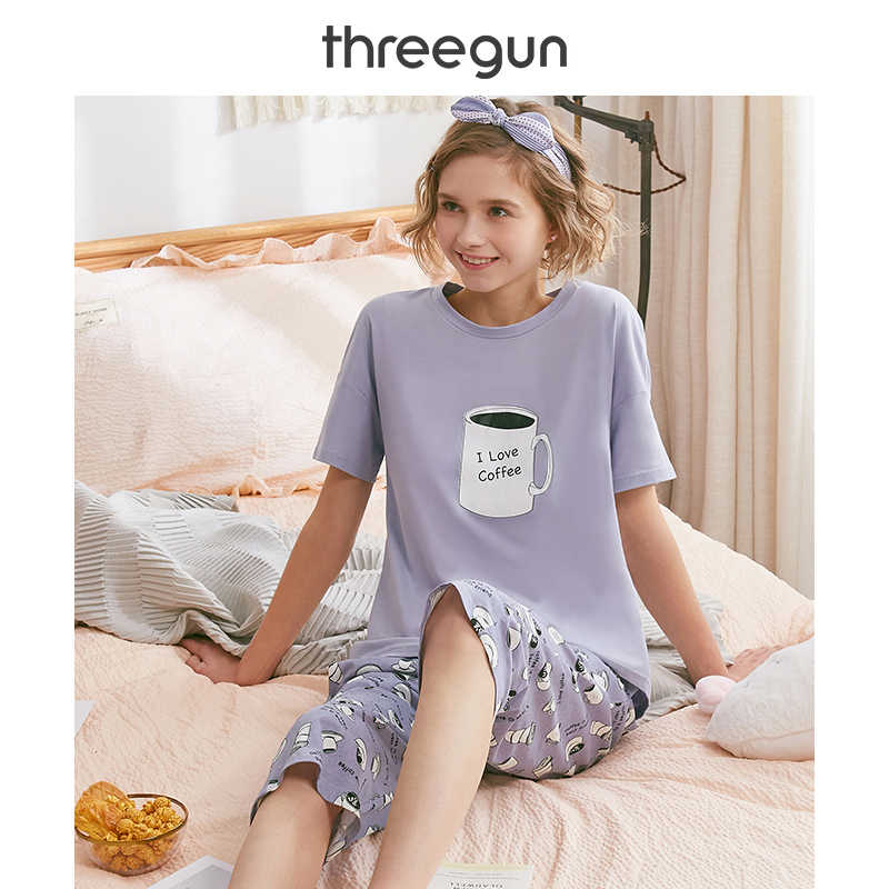 THREEGUN Pijama Women Cute Sweet Girls Print Pajama Set Casual Summer Short Sleeve Sleepwear Pajamas Loose Pyjama Femme