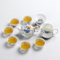 Ceramic kung fu Tea Set cup teapot set purple clay blue and white hollow out porcelain teasets