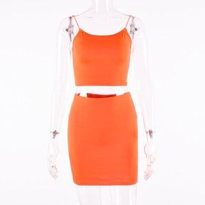 Image 5 - Hugcitar paski spaghetti sexy camis spódnica 2 dwuczęściowy zestaw 2019 lato kobiety moda neon zielony pomarańczowy stałe imprezowy streetwear