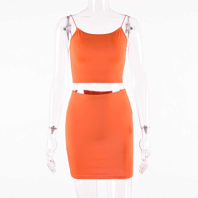 Hugcitar spaghetti pasy sexy camis spódnica 2 dwuczęściowy zestaw 2019 lato kobiet mody zielony neon orange stałe party streetwear