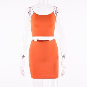 Image 5 - Hugcitar spaghetti trägern sexy camis rock 2 zwei stück set 2019 sommer frauen mode neon grün orange solide partei streetwear