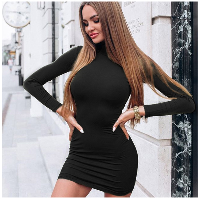 fc99f3f180 US $8.82 47% OFF|Rapwriter Sexy Solid Color Turtleneck Skinny Mini Dress  Women 2018 Fall Winter Keep Warm Long Sleeve Slim Pencil Dress Vestidos-in  ...
