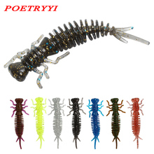 POETRYYI Larva Soft Lures 55mm Artificial Fishing Worm Silicone Bass Pike Minnow Swimbait Jigging Plastic Baits 30