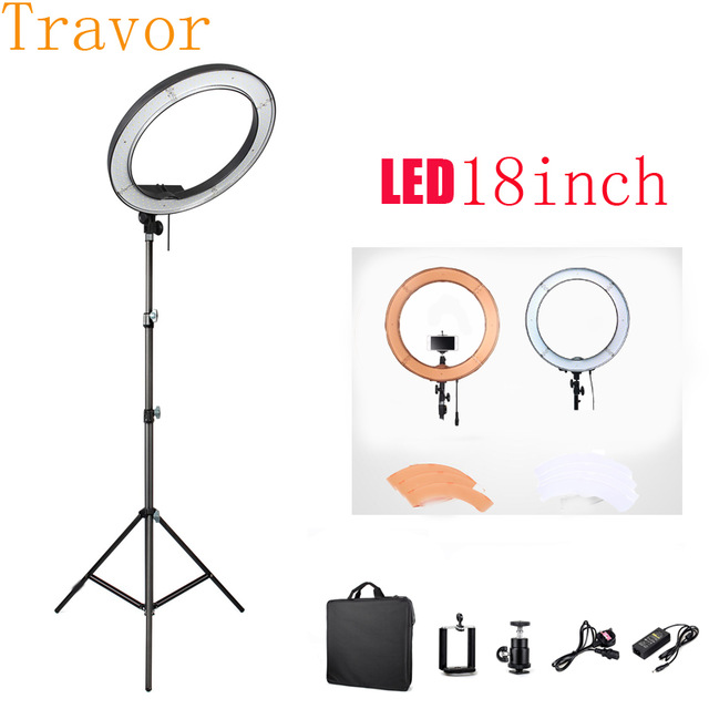 Travor 240 19 5500K Dimmable Diva LED Ring Light With Diffuser Stand Make Up LED Studio Annular Lamp Light Tripods&Bag