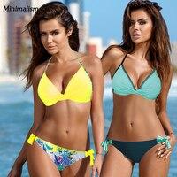 Minimalism Le 2018 Sexy Print Swimwear Bikini Sets New Style Swimsuit Push Up Bikinis Women S