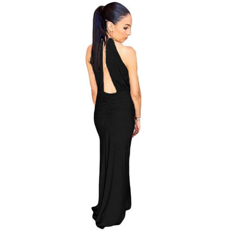40cdf95817ff Dear lover Elegante Seta Jewel Scollo All americana Cammello Nero Lungo  Maxi donne del Vestito convenzionale vestiti da Partito vestido de festa  longo ...