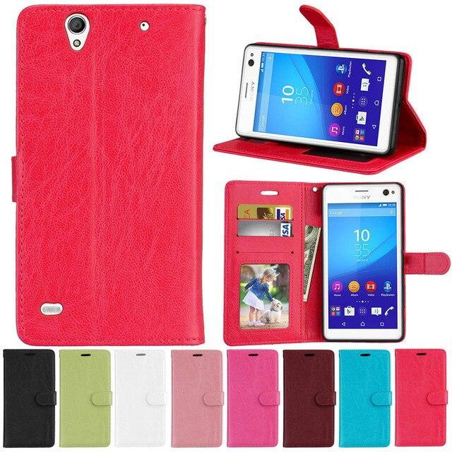 Đối với Sony Xperia C4 Kép E5333 E5306 E5303 E5353 E5343 E5363 Trường Hợp bìa Đối Với Sony Xperia C4 Wallet Lật PU Leather Trường Hợp Túi Điện Thoại