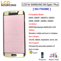 Red Burn Shadow AMOLED For Samsung Galaxy S6 Edge G925 S6 EDEG Plus G928 LCD Display Touch Screen Digitizer Assembly NO FRAME
